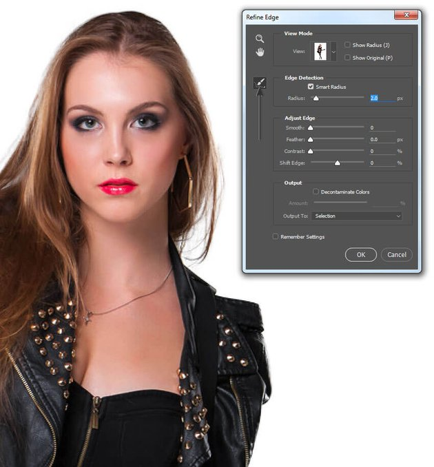 Use Refine Edge to clean up the selection aorund the hair