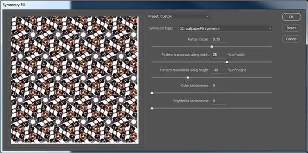 Symmetry Fill settings