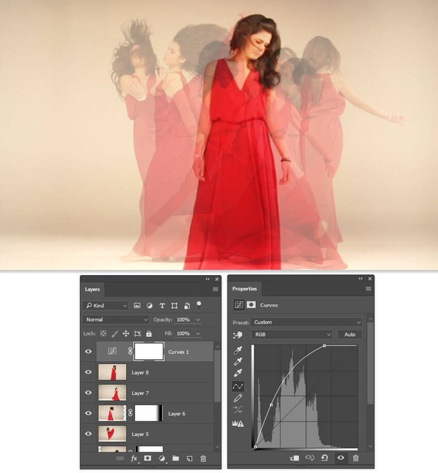 Brighten the image with a Curves adjustment layer