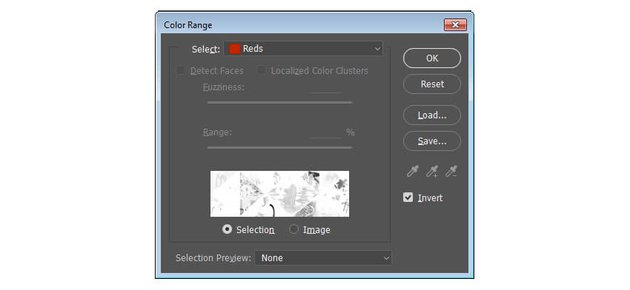 Use Color Range to select the non-red colors