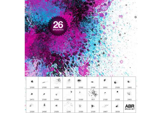 26 Watercolor Splatter Brushes