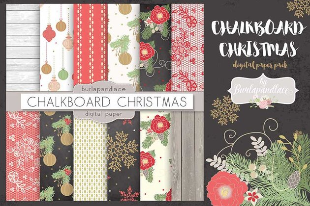 Chalkboard Christmas Digital Paper Pack
