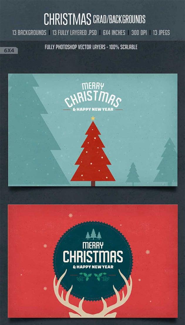 Vintage Christmas Card  Backgrounds