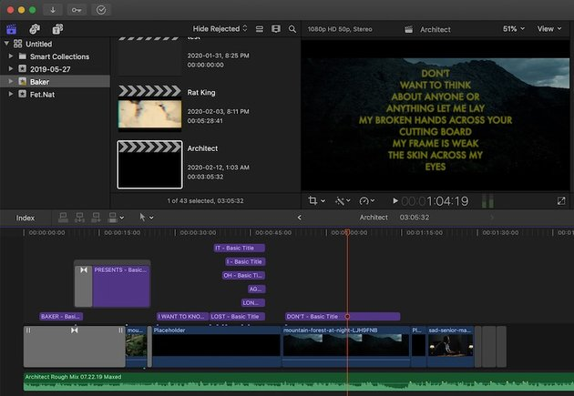 A lyric video being edited in Final Cut Pro