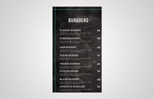menu layout template design