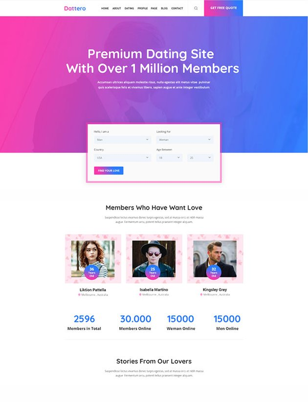 Dattero - Dating Marriage Agency Matrimonial PSD Template