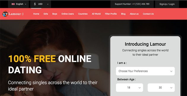 Lamour - Dating Website HTML5 Template