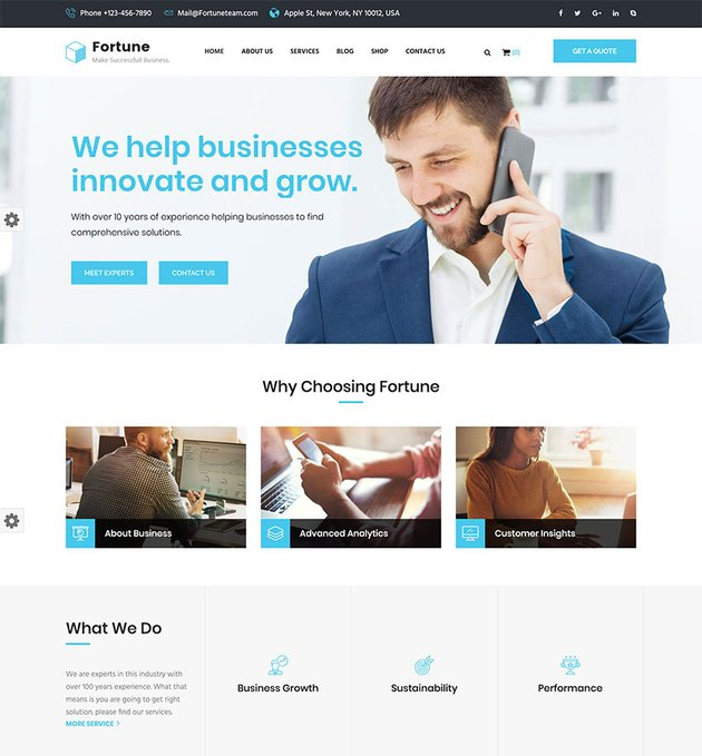Fortune - Business Consulting and Professional Services WordPress Theme