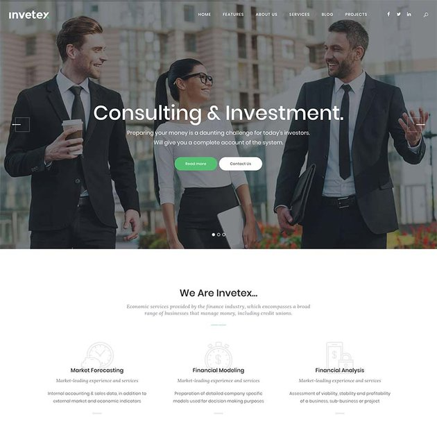 Invetex Business Consulting Investments WordPress Theme RTL