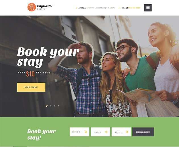 City Hostel  A Travel  Hotel Booking WordPress Theme