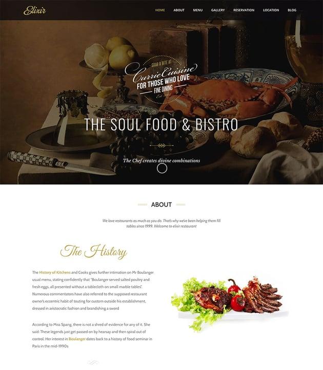 Elixir - Restaurant WordPress Theme