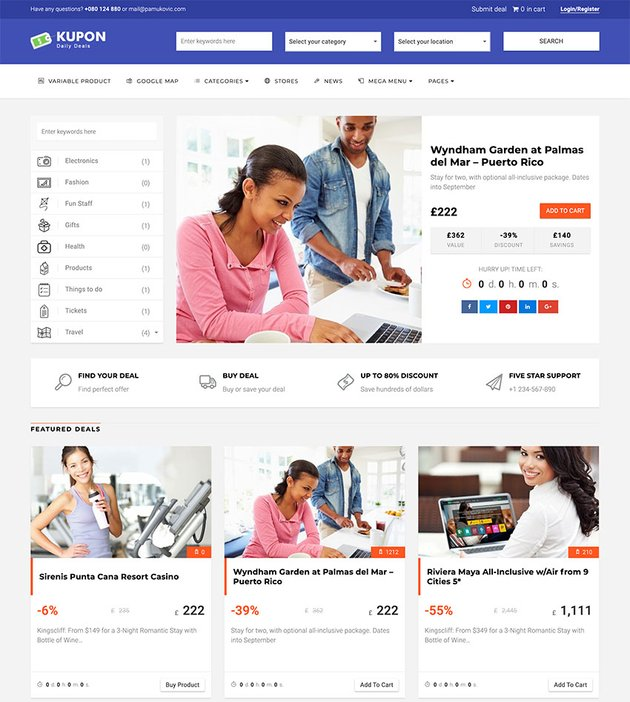 KUPON - Coupons  Daily Deals  Group Buying - Marketplace WordPress Theme