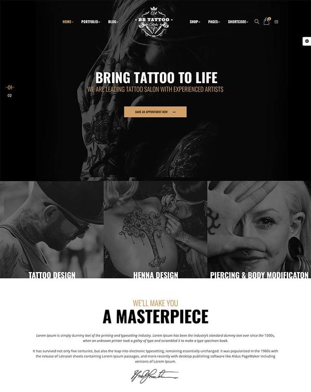 Barber - Hair Tattoo  Beauty Salons WordPress Theme