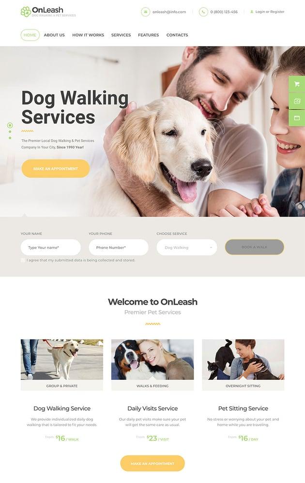 OnLeash  Dog Walking  Pet Services Veterinary WordPress Theme
