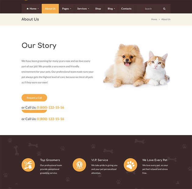Grooming - Pet Shop  Veterinary Physician WordPress Theme