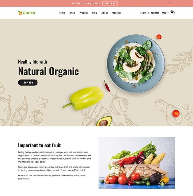 Obrien Organic Food Shopify Theme