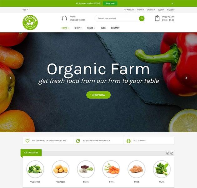 Organic Food Shopify eCommerce Theme - Greenfarm