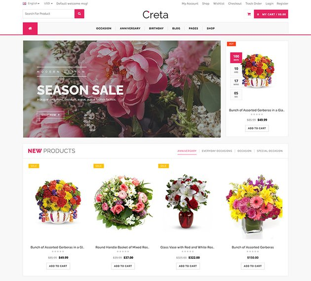 Creta - Flower Shop WooCommerce WordPresss Theme