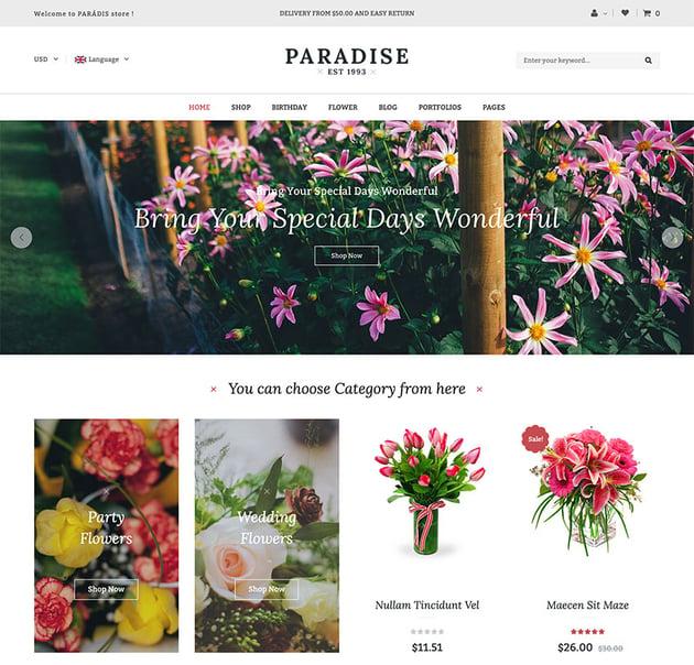 Paradise - Flower Shop WordPress WooCommerce Theme 8 Homepages Ready