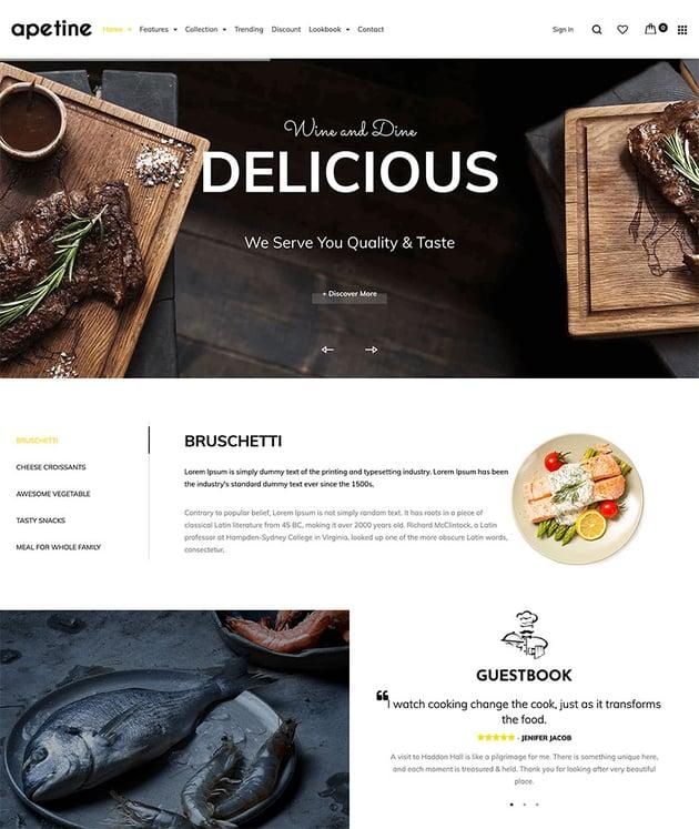 Apetine - Responsive Food Restaurant Shopify