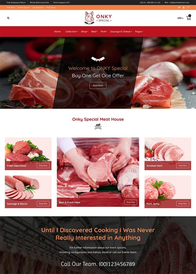 Onky Butcher Food and Meat Shop Shopify Theme