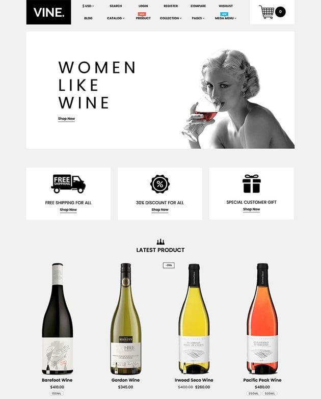 Vine - Restaurant Food Drinks Shopify Theme Health Beauty eCommerce Template