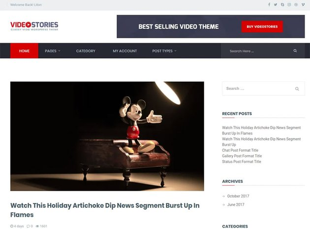 VideoStories (Free WordPress Video Theme)