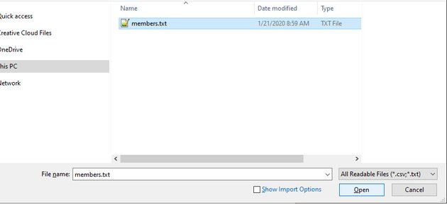Opening the Data Source File