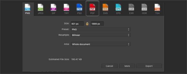 Affinity Publisher Export Select PDF