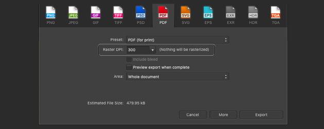 Affinity Publisher Edit PDF DPI Print