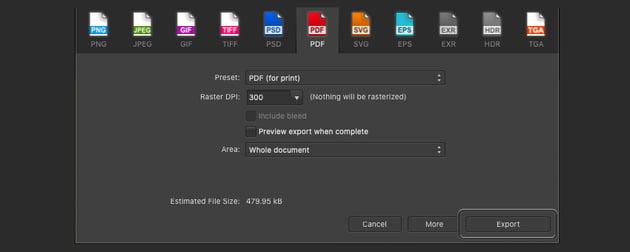 Affinity Publisher Edit PDF Export