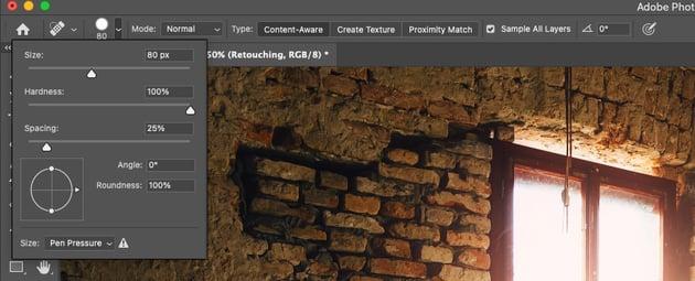 Spot Healing Brush Photoshop Brush Size