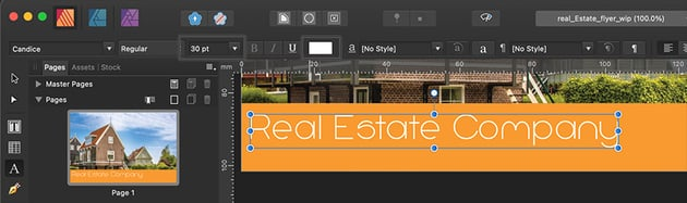 Affinity Publisher Real Estate Postcard Text Size