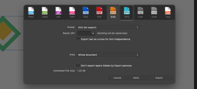 Affinity Designer Export EPS