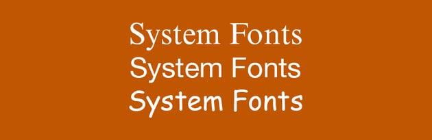 System Fonts Variety