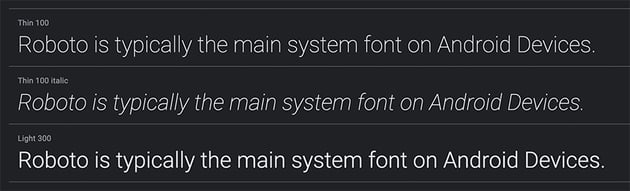 System Fonts Roboto