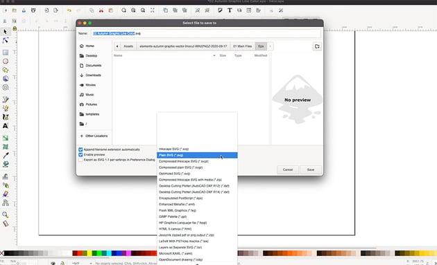 Inkscape SVG Select Plain SVG