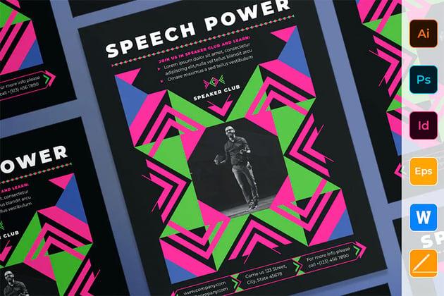 Envato Elements InDesign Template Speech Flyer