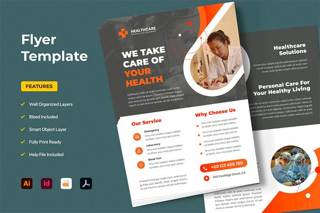 Envato Elements InDesign Template Healthcare Flyer
