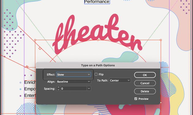 Curve Text InDesign Settings Effect