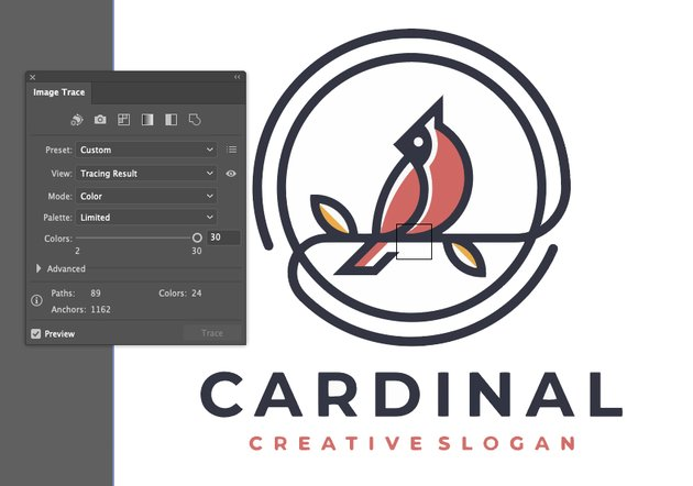 How to Trace Image In Illustrator Logo Finished