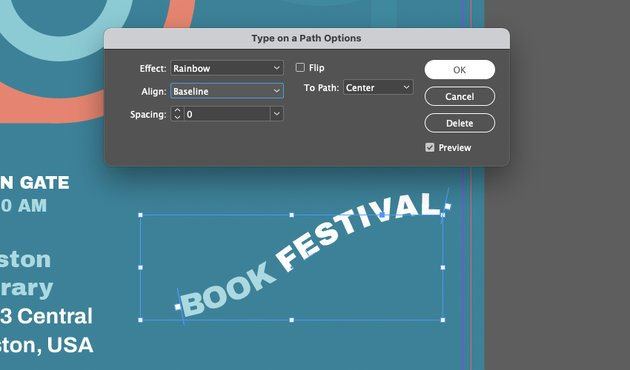 InDesign Text to Path Tool Finish
