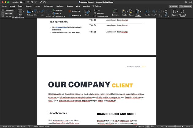 Word Annual Report Duplicate Pages
