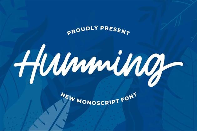 Humming Silhouette Cursive Font