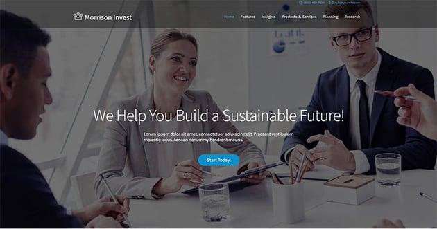 Investments Business Financial Advisor WordPress Theme