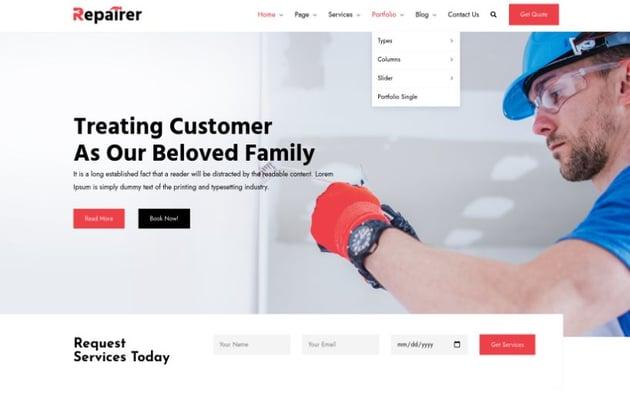 Repairer - Handyman Services WordPress Theme