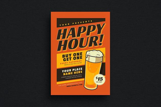 Retro Happy Hour Beer Event Flyer (AI, PSD)