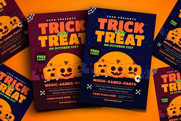 Trick or Treat Halloween Event Flyer (AI, PSD)