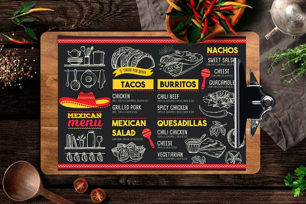 Mexican Food Menu Design Template (EPS, PSD)
