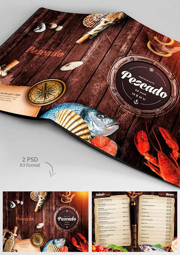 Trifold Menu Template With Business Card